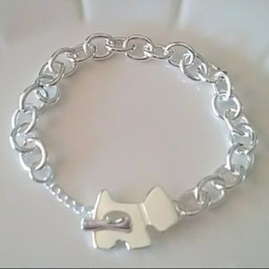 Sterling silver 925 dog with bone bracelet